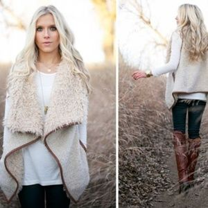 Love Tree Boucle and Shearling Vest